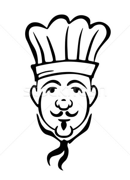 Chef in toque and necktie with a moustache Stock photo © anbuch