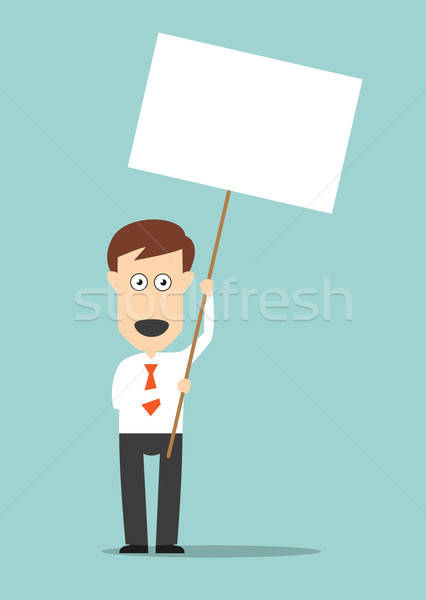 Businessman holding blank signboard with copyspace Stock photo © anbuch