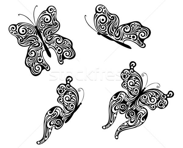 Abstract flying butterflies Stock photo © anbuch