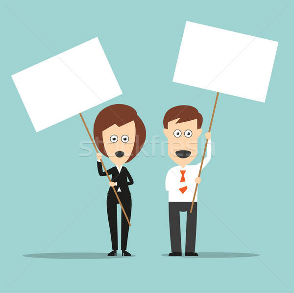 Business colleagues holding sign boards with copyspace Stock photo © anbuch