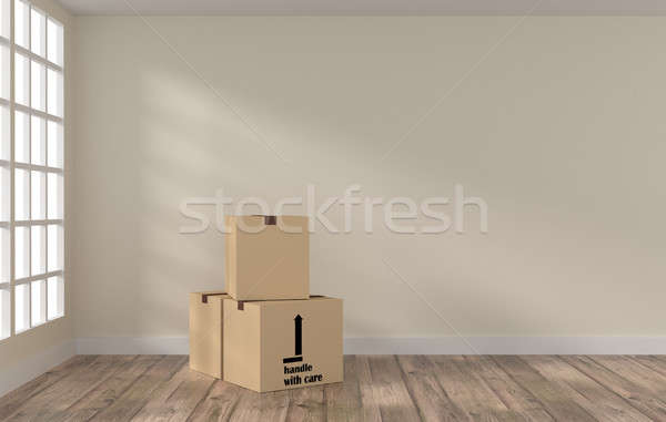 Room with three cardboard boxes Stock photo © andreasberheide