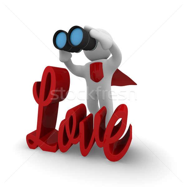 Foto stock: 3D · pequeño · búsqueda · amor · búsqueda