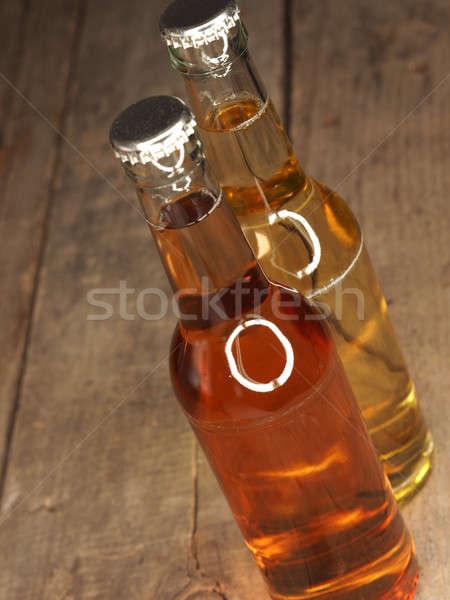 Iki şişeler elma suyu eski rustik ahır Stok fotoğraf © andreasberheide