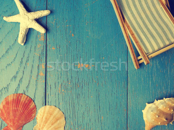Seyahat tatil mavi rustik ahşap Stok fotoğraf © andreasberheide