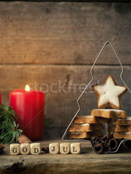 Christmas star cookies kaneel boom Stockfoto © andreasberheide