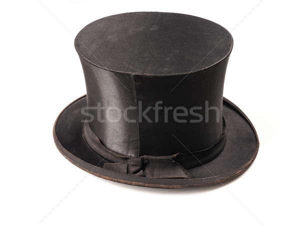 Eski kullanılmış şapka şık beyaz siyah Stok fotoğraf © andreasberheide