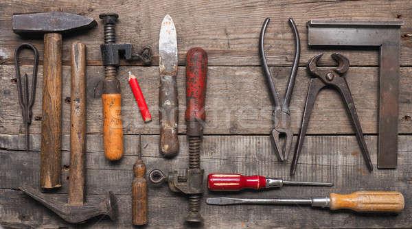 Edad utilizado madera trabajador herramientas madera vieja Foto stock © andreasberheide