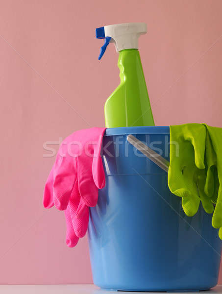 Plastic bucket with cleaning utensils Stock photo © andreasberheide
