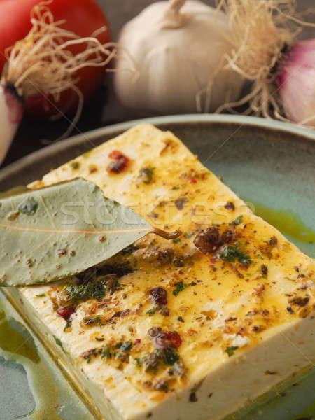 Organisch kruiden olijfolie rustiek plaat Stockfoto © andreasberheide