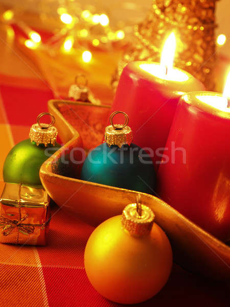 Colorful Christmas decoration with vintage baubles Stock photo © andreasberheide