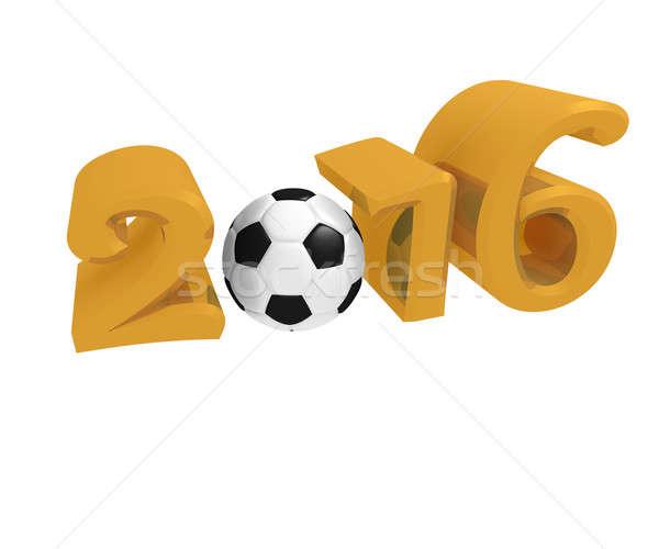 Arany 2016 futballabda fehér 3D renderelt kép Stock fotó © andreasberheide