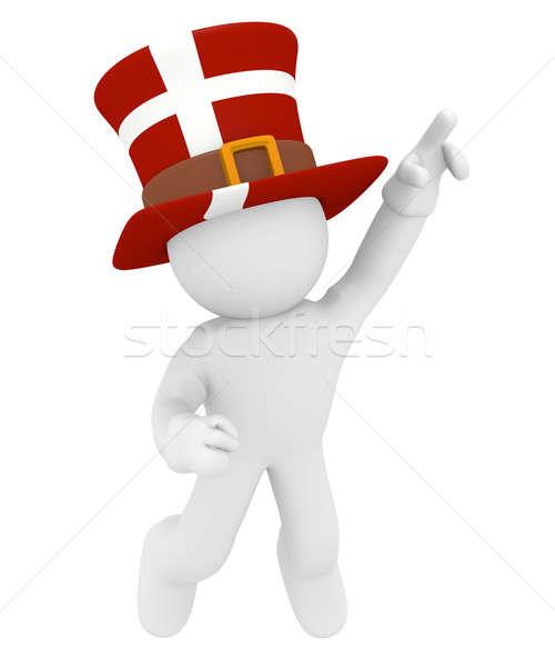 Ugrik férfi kalap Dánia fehér 3D Stock fotó © andreasberheide