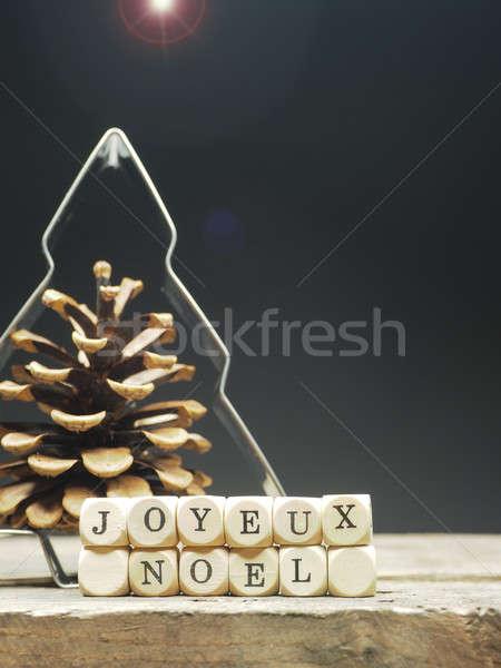 Francês alegre natal palavras árvore de natal forma Foto stock © andreasberheide