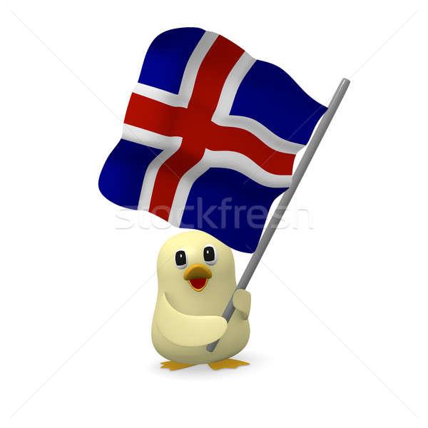 Komik kuş bayrak 3D iş Stok fotoğraf © andreasberheide