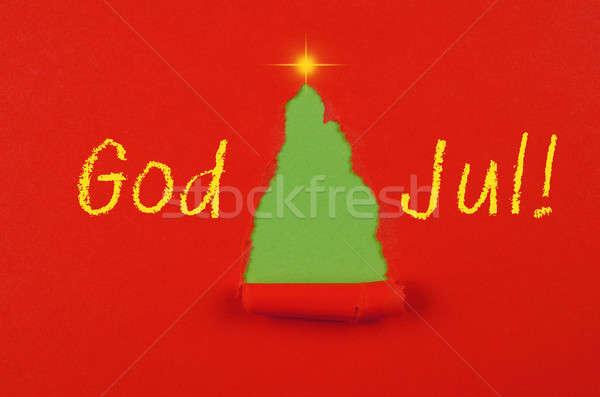 Isten karácsonyi üdvözlet absztrakt karácsonyfa fa csillag Stock fotó © andreasberheide