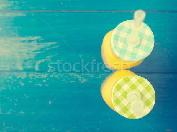Stockfoto: Organisch · sinaasappelsap · hout · vers · Blauw · verweerde