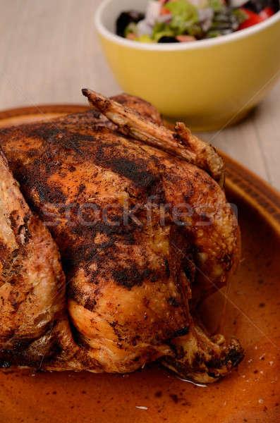 жареная курица деревенский пластина куриные ног обеда Сток-фото © andreasberheide