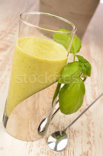 グリーンスムージー 木製のテーブル ガラス 健康 ドリンク カクテル ストックフォト © andreasberheide