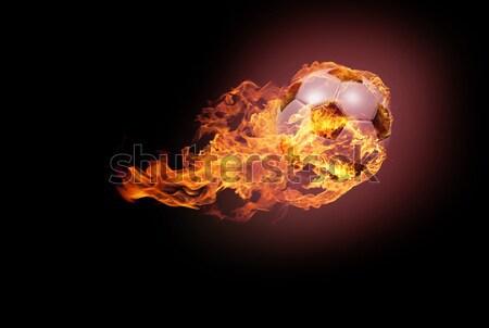 Futballabda tűz repülés sötét lángok világ Stock fotó © andreasberheide