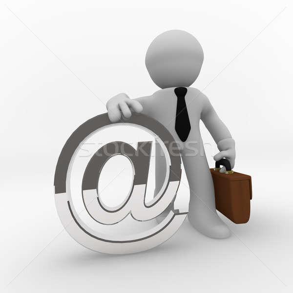 Foto stock: Web · negocios · 3D · hombre · de · negocios · plata