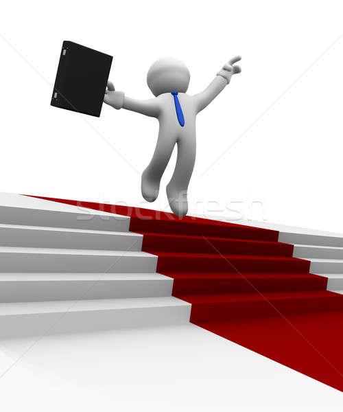 Businessman jumping high on a red carpet, 3d rendering Stock photo © andreasberheide