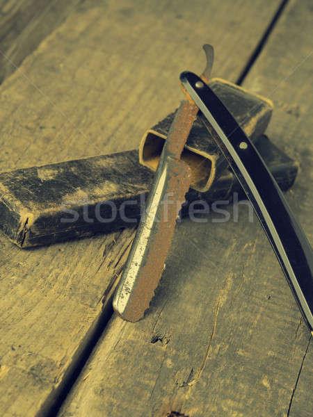 Vintage парикмахера ржавые бритва старые деревенский Сток-фото © andreasberheide