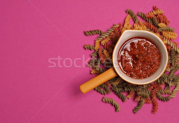 Tészta tészta olasz étel fogalmak felülnézet étel Stock fotó © andreasberheide
