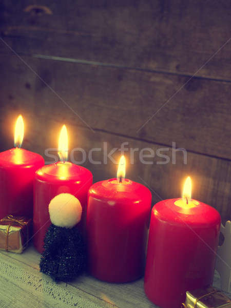 Red Advent candles, retro stylized Stock photo © andreasberheide