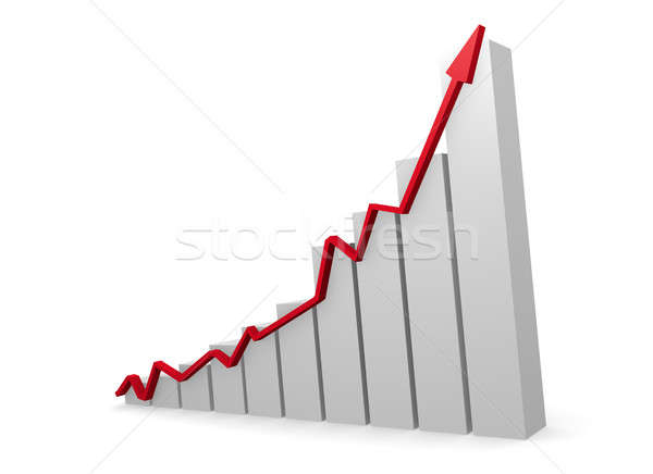 Business graph with a red upswing arrow Stock photo © andreasberheide