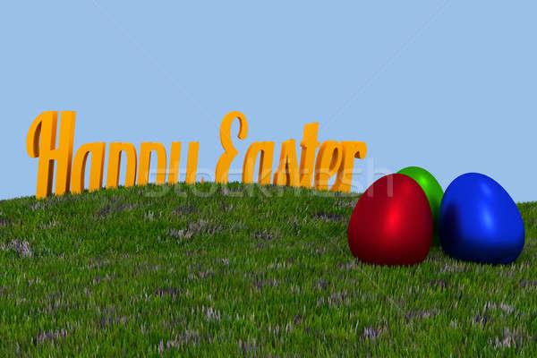 Foto stock: Grama · verde · palavras · três · ovos · coloridos · páscoa