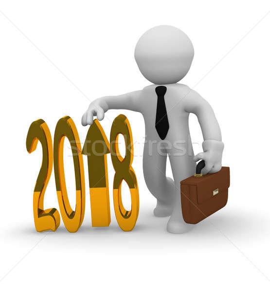 Golden 2018 business upswing concept Stock photo © andreasberheide
