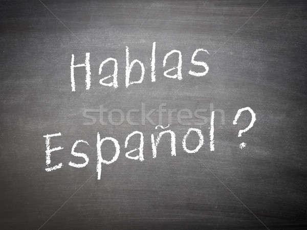 Aprendizagem linguagem espanhol lousa palavras fundo Foto stock © andreasberheide