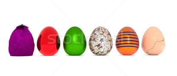 Foto stock: Ovos · de · páscoa · branco · 3D · feliz