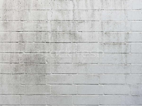 Stock fotó: Fehér · téglafal · textúra · koszos · épület · festék