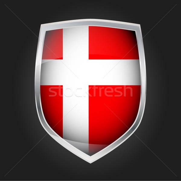 Schild vlag Denemarken ontwerp glas metaal Stockfoto © andreasberheide