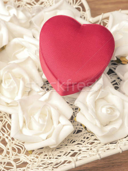 Red heart shaped gift box Stock photo © andreasberheide