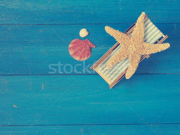 Zeester ligstoel Blauw houten ruimte Stockfoto © andreasberheide