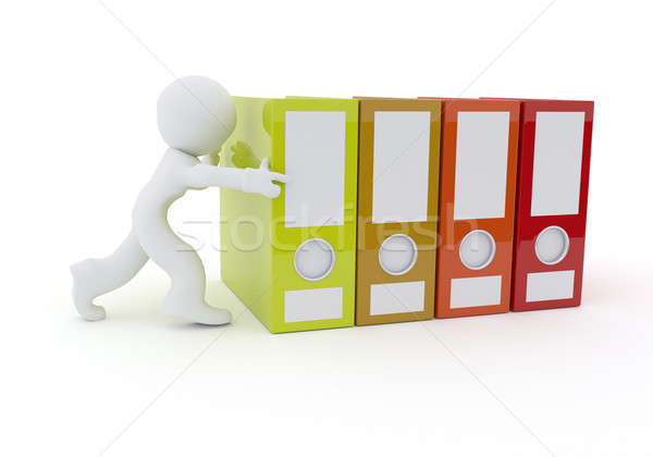 Character with folder on white, 3d rendering Stock photo © andreasberheide