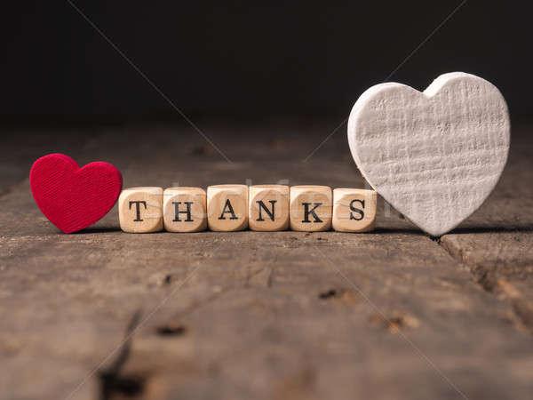 Köszönet kettő szív formák fából készült szó Stock fotó © andreasberheide