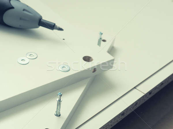 Meubels onderdelen schroevendraaier witte Stockfoto © andreasberheide