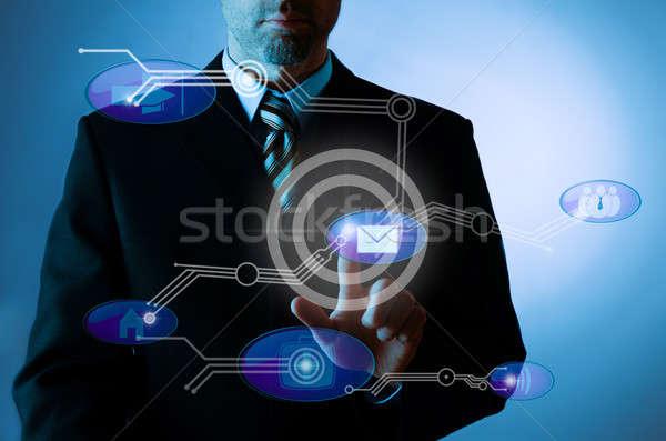 Comunicazione immagine imprenditore punta schermo moderno Foto d'archivio © andreasberheide