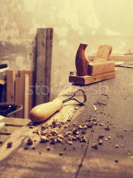 Stock photo: Carpenter tools on a wooden workbench