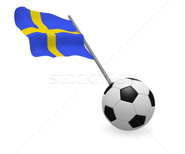 Piłka banderą Szwecja biały piłka nożna zespołu Zdjęcia stock © andreasberheide