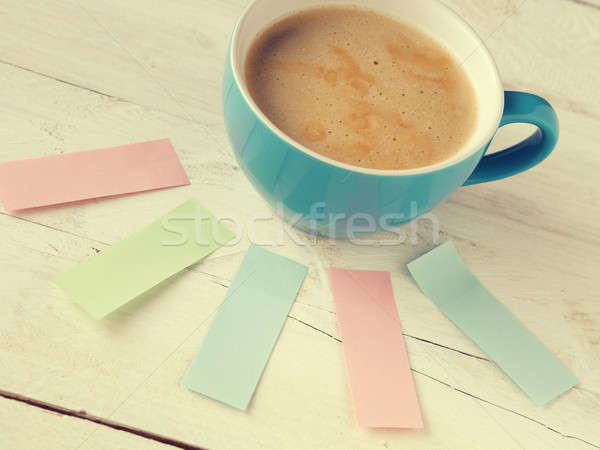 Cup of coffee with sticky notes Stock photo © andreasberheide