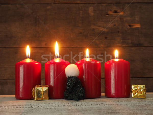 Four red Advent candles Stock photo © andreasberheide
