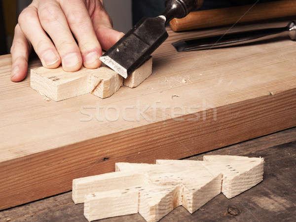 Fa dolgozik véső készít fából készült karácsony Stock fotó © andreasberheide