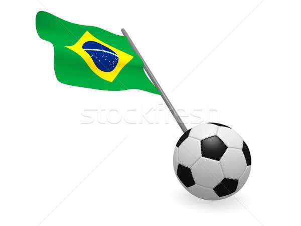 Zdjęcia stock: Piłka · banderą · Brazylia · piłka · nożna · mistrzostwo · 3D