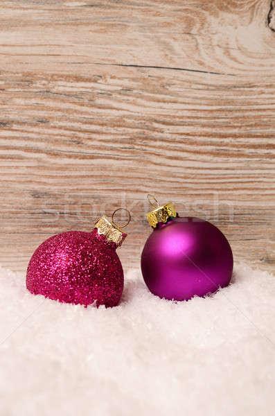 Noël neige bois planche espace balle Photo stock © andreasberheide