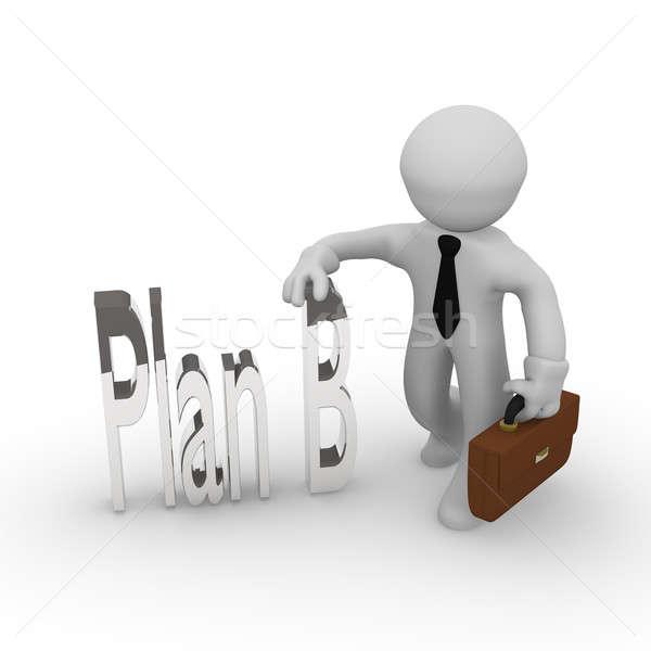 Plan b 3D iş adamı kelime başarı beyaz Stok fotoğraf © andreasberheide