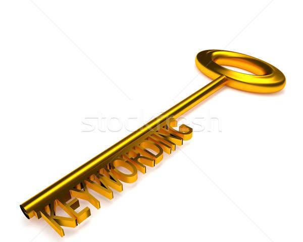 Golden key with the word keywording, 3d rendering Stock photo © andreasberheide